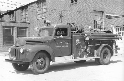 Photo of an old Clay Township Fire Department truck.